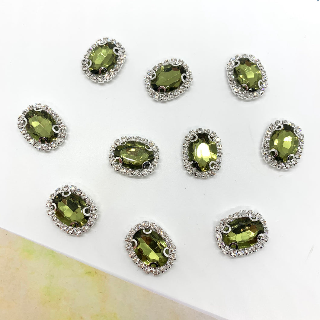 Gemstone Embellishment Olive - Crafty Bear Craft Supplies & Glitter Fabric