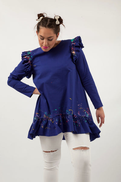 Lilly Long Sleeve Tunic Royal Blue