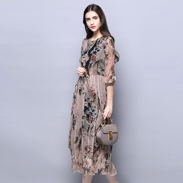 1636fa76a3e5 100% Silk Chiffon Dress Vintage Women Dresses With Lining Chinese Style  Flower Printed Silk Fabric