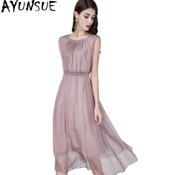 921a19ccf8b24 AYUNSUE 2018 Casual Natural Silk Long Dress Summer Women Solid Sleeveless  Evening Party Dresses Vestido Elegant Plus Size YQ1363