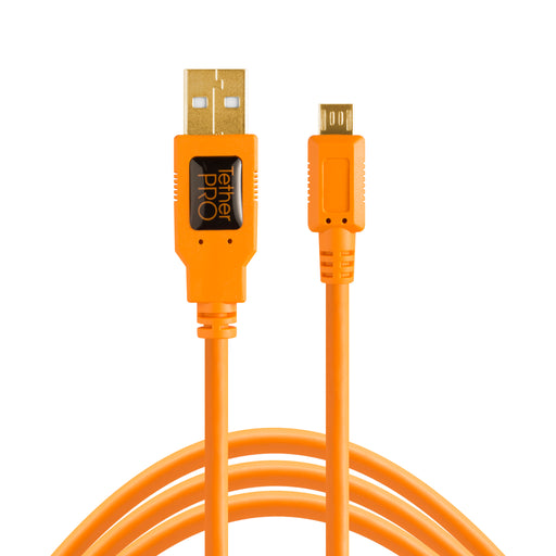 Tether Tools TetherPro USB 2.0 A Male to Micro-B 5-Pin Cable - 15 ft, Orange