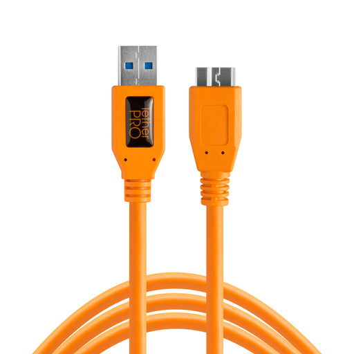 Tether Tools TetherPro USB 3.0 Male Type-A to USB 3.0 Micro-B Cable - 15 ft, Orange