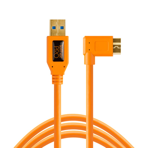 Tether Tools USB 3.0 Type-A Male to Micro-USB Right-Angle Male Cable - 15 ft, Orange