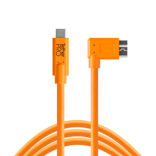 Tether Tools TetherPro USB Type-C Male to Micro-USB 3.0 Type B Right-Angle Male Cable - 15 ft, Orange