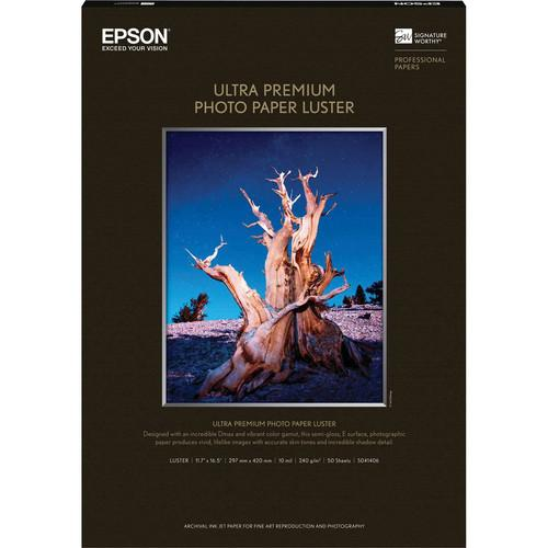 "Epson Ultra Premium Luster 11.7x16.5"" 50 Sheets"