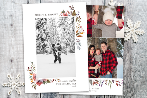 Classic Floral Tall - 5 x 7 Custom Holiday Cards