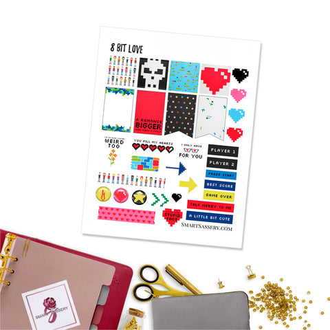 8 Bit Love Planner Stickers
