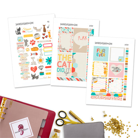 Colorful Pets Letter Planner Stickers - Printable
