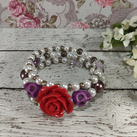 Red & Purple Skulls & Roses Bracelet