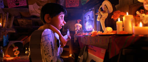 Miguel idolizing de la Cruz, from Pixar's Coco