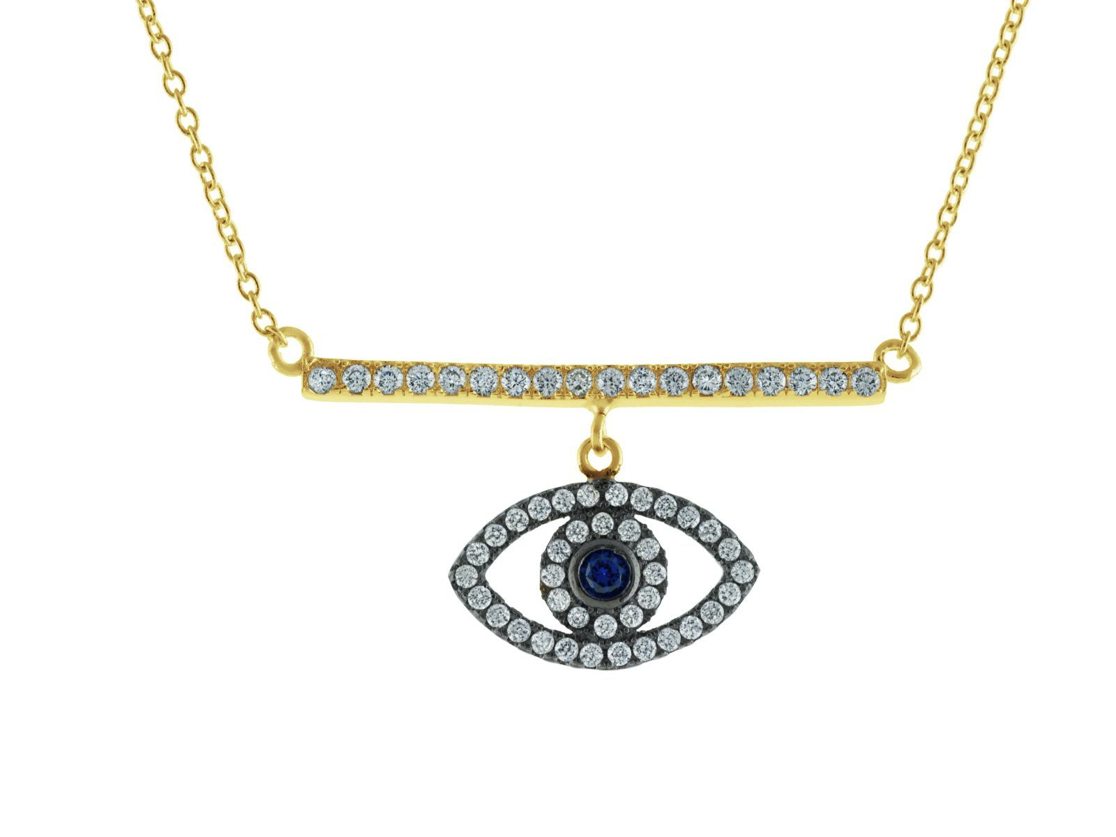 "Spiritual CZ Bar & Eye Gold Plated Sterling SIlver Necklace, 16"" from Ritual+Vibe"