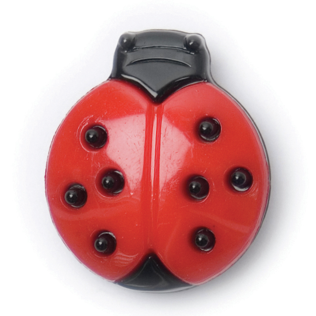 Ladybird Button, Red with Black spots 18mm