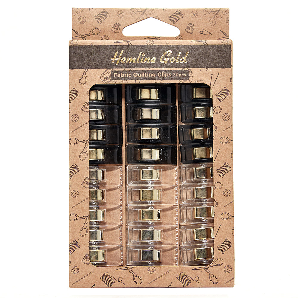 Hemline Gold Small Quilters Clips - 30 Pieces
