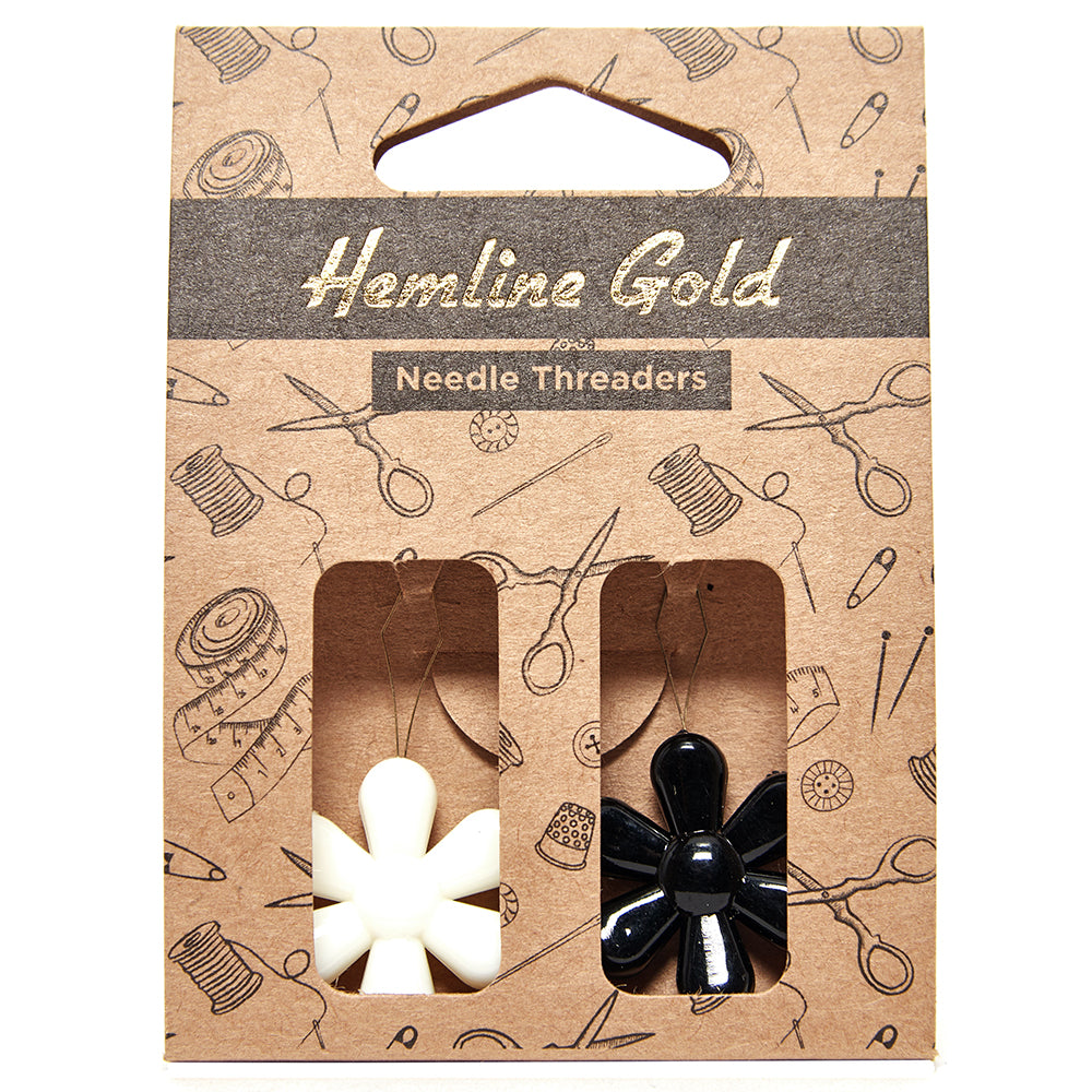 Hemline Gold Flower Needle Threader - set of 2