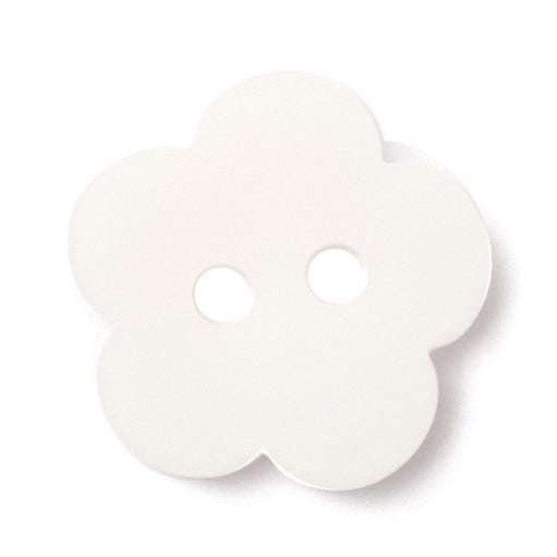 Flower Shape Button, White 15mm