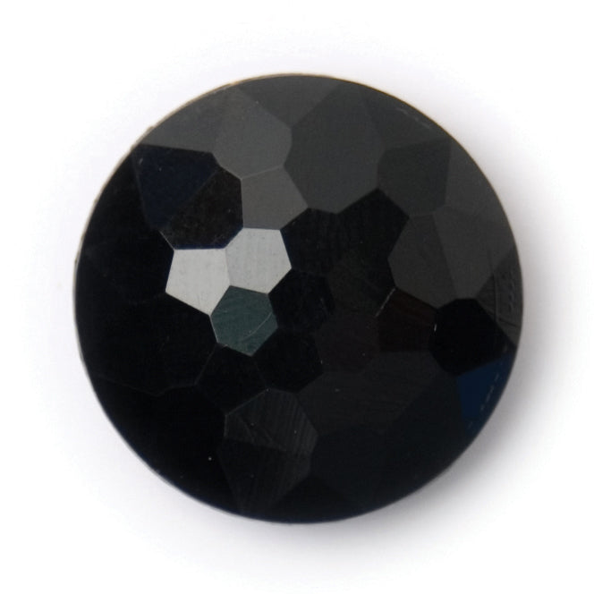 Round Domed Faceted Button, Black 18mm
