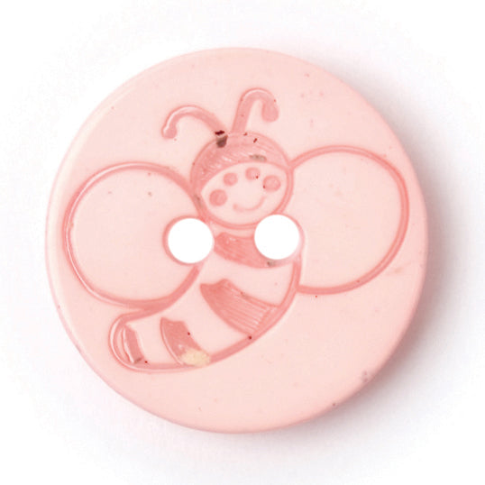 Round Bee Button, Light Pink 15mm