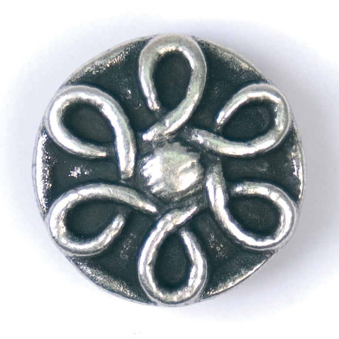 Round Patterned Button, Silver 20mm