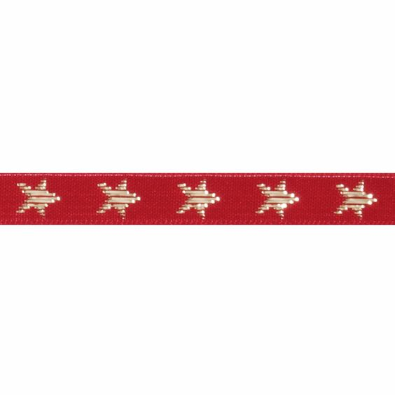 Berisfords Star Ribbon - Red/Gold 10mm