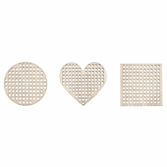 Wooden Cross Stitch Decorations: Circle, Square and Heart