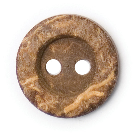 Round Coconut Shell Button Natural Brown 15mm