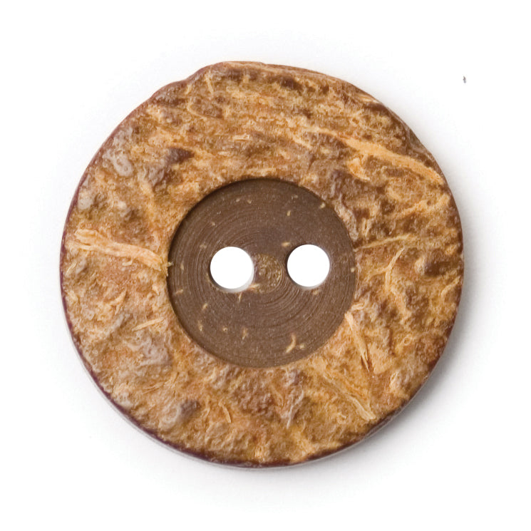 Round Coconut Shell Button Natural Brown 20mm