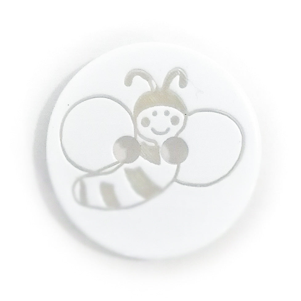 Round Bee Button, White 15mm