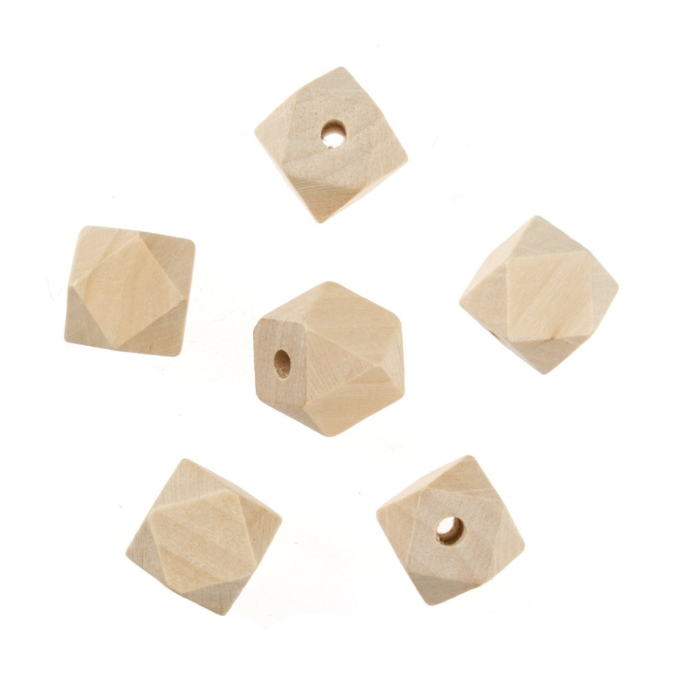 20mm Geometric Cut Wooden Beads 6 Pack
