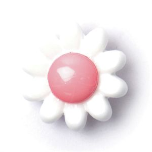 Flower Shape Button, White and Light Pink 14mm