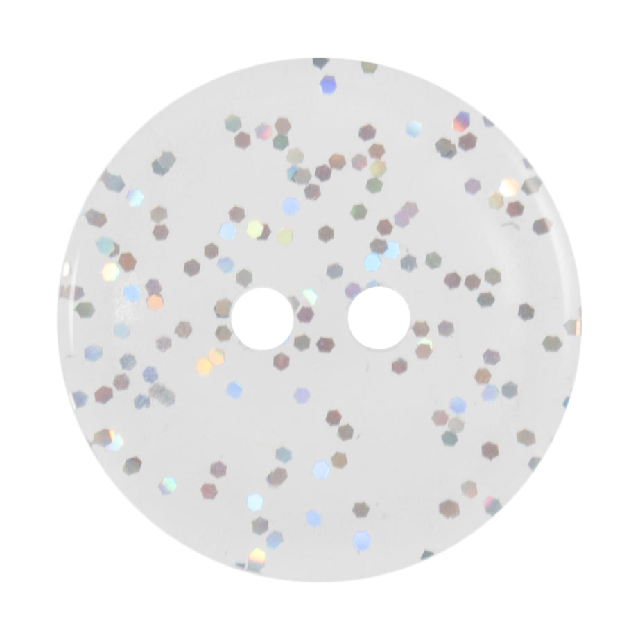 Round Transparent Glitter Button,  Clear 15mm