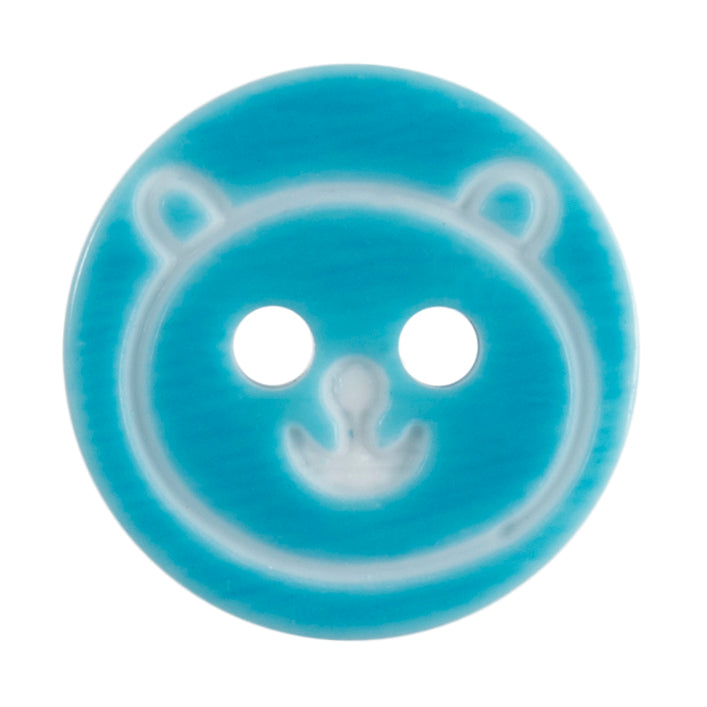 Round Teddy Bear Button, Blue 13mm