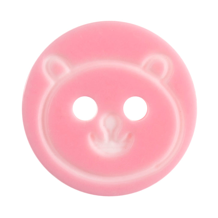 Round Teddy Bear Button, Light Pink 13mm