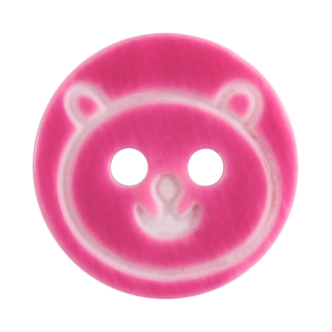 Round Teddy Bear Button, Dark Pink 13mm