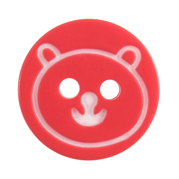 Round Teddy Bear Button, Red 13mm