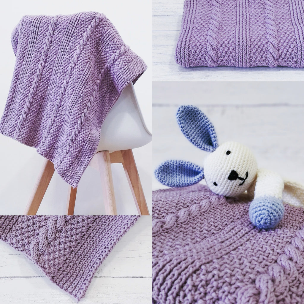 Rapunzel Cabled Baby Blanket Knitting Kit - Rowan Baby Merino Silk DK