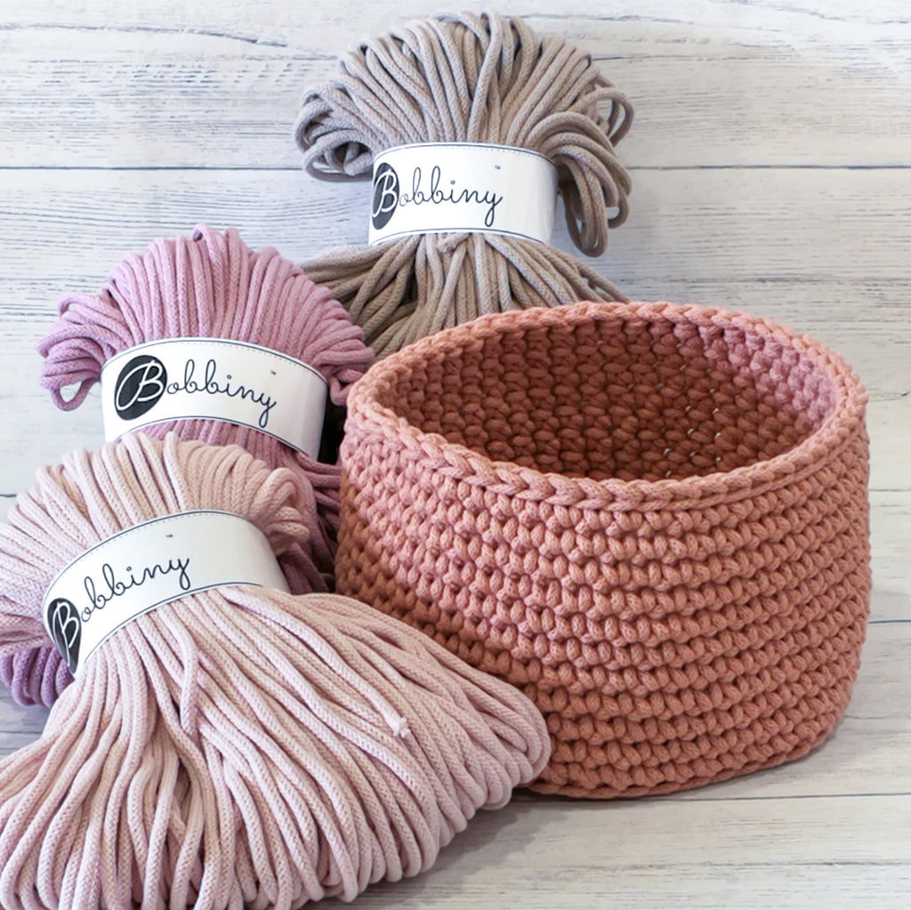 Simple Cord Yarn Crochet Basket Kit