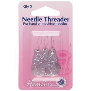 Hemline Needle Threader, Aluminium (set of 3)