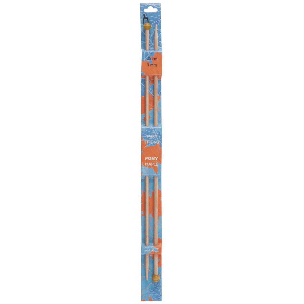 Pony Single Point Knitting Needles - Maple - 35cm