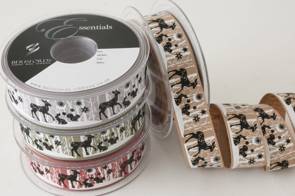 Berisfords Woven Ribbon with Woodland Animals - Silver Grey 25mm