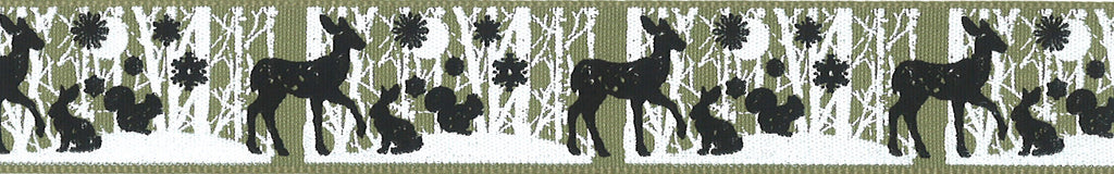 Berisfords Woven Ribbon with Woodland Animals - Cloudy Green 25mm