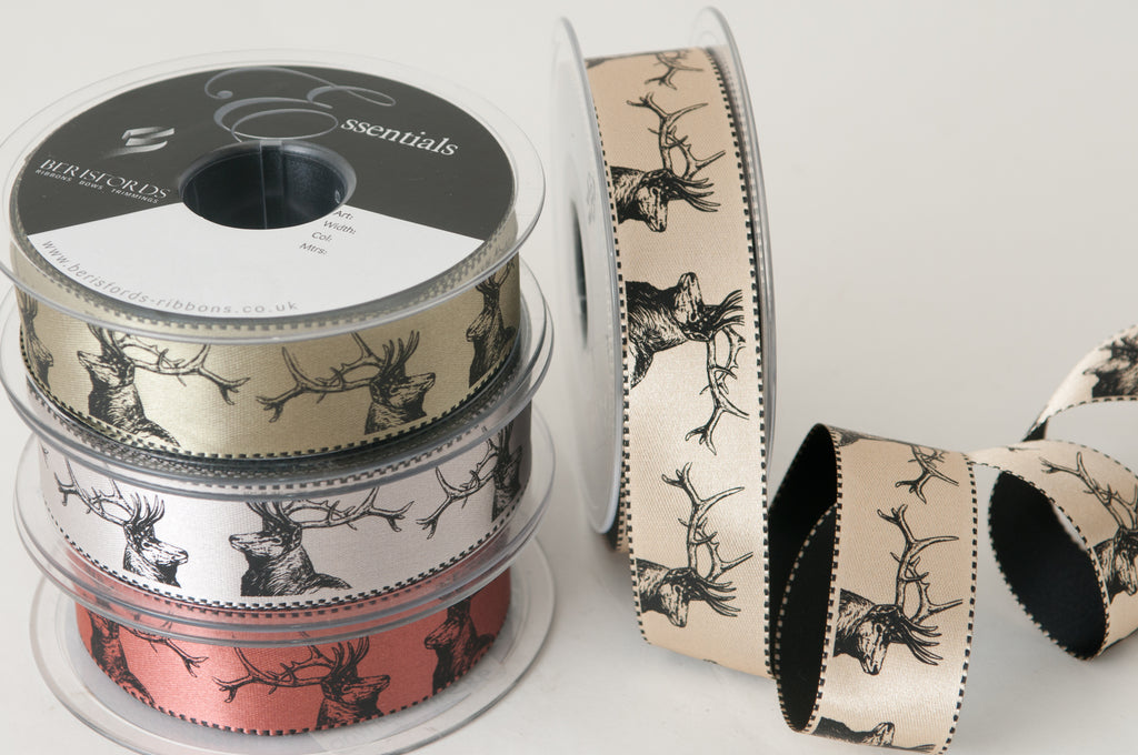 Berisfords Satin Ribbon with Stag Print - Silver Grey 25mm