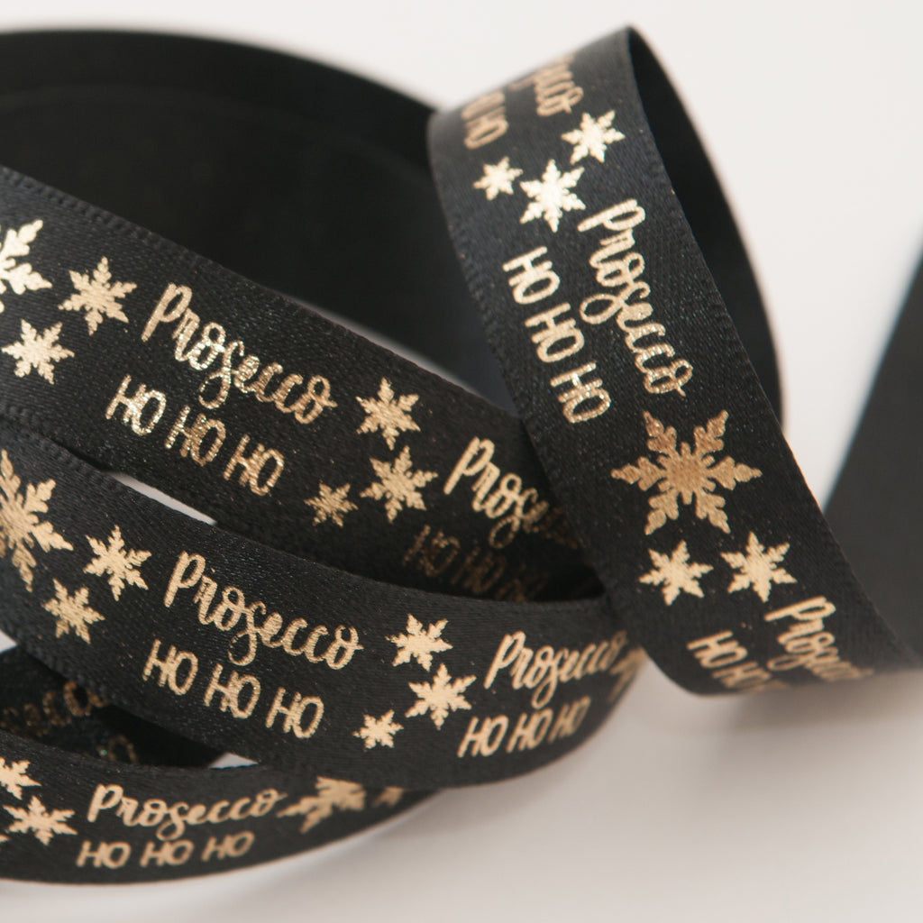 Berisfords Satin Ribbon Prosecco HO HO HO - Black/Gold 15mm