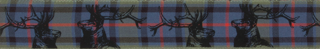 Berisfords Flower of Scotland Tartan Ribbon with Stag Print -  25mm