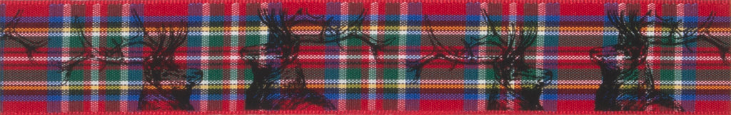 Berisfords Royal Stewart Tartan Ribbon with Stag Print -  25mm
