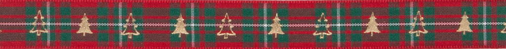 Berisfords MacGregor Tartan Ribbon with Fir Tree Print -  16mm