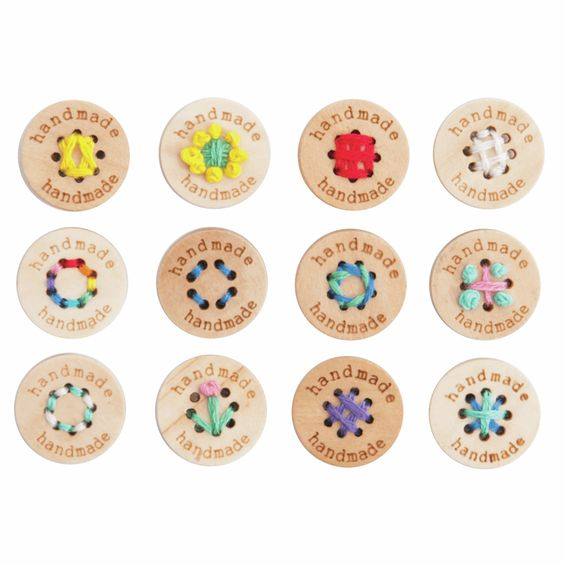 Round Wooden Multihole Button Handmade - Natural Light Wood 15mm