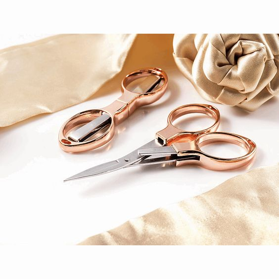 Hemline Rose Gold Folding Embroidery Scissors 10cm