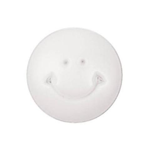 Round Smiley Face Button, White 12mm