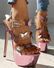 Load image into Gallery viewer, Butterfly Pattern High Heel Sandals
