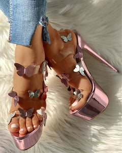 Butterfly Pattern High Heel Sandals